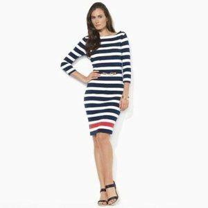 Ralph Lauren Striped Boat Neck Nautical Dress XS